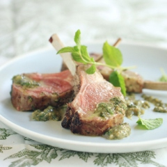 Roasted Rack of Lamb with Mint-Basil Pesto