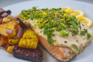 Grilled Salmon with Green Onions & Basil ~ The Heritage Cook