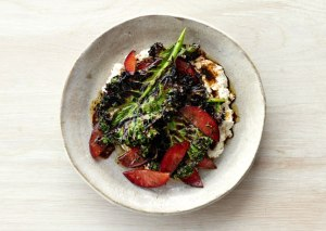 Grilled Kale Salad with Ricotta and Plums Photo:  Romulo Yanes