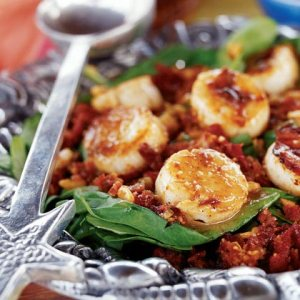 Spinach and Scallop Salad Photograph;  Howard L. Puckett for Coastal Living