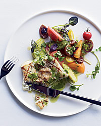 Grilled Halibut with Herb Pistou and Walnut Butter