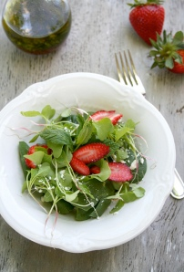 Spinach and Radish Sprout Salad with Strawberries and Feta Cheese