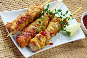Grilled Chicken Thigh Skewers with Spiced Herb Marinade