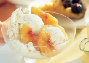 Peach Custard Ice Cream with Fresh Peach Compote