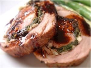 Greek Stuffed Prosciutto & Fig Jam Pork Roast with a Port Wine Reduction Sauce