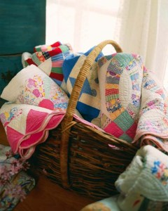 basket of quilts