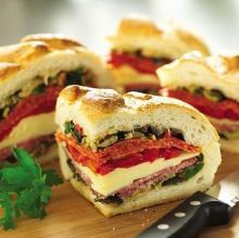 Italian Stuffed Sandwich ~ Toss it together the night before and chill