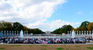 Honor Flight Veterans in Front of WWII Memorial
