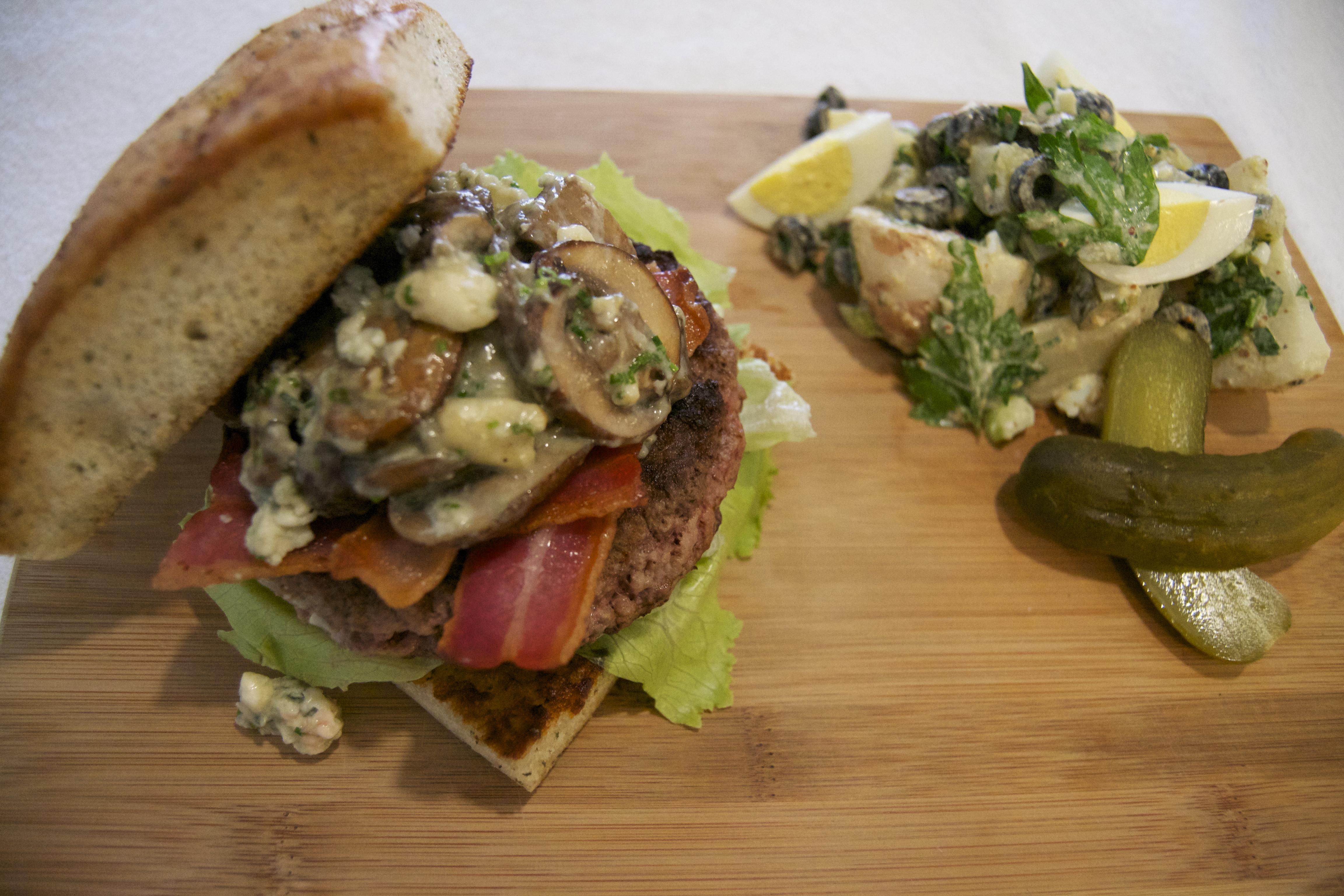 Ramsay's Herb Focaccia Burger with Sautéed Mushrooms, Blue Cheese ...