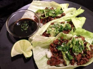 Korean Beef Lettuce Wraps with Lettuce Kimchi and Rice