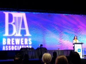 Nancy Johnson on stage at the GABF