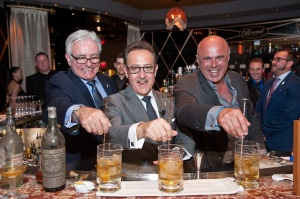 Legendary mixologists Dale DeGroff (L) and Tony Abou-Ganim (R) joined Salvatore Calabrese to make the world's oldest martini at Bound by Salvatore at The Cromwell. © PATRICK GRAY/ Kabik Photo Group