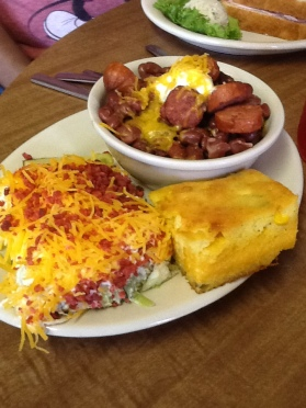 Red beans and with layered salad and cornbread