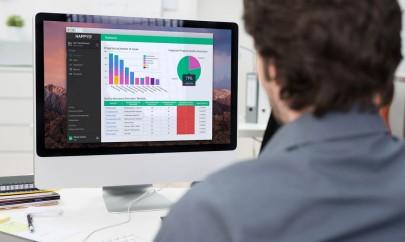 Businessman using a desktop computer