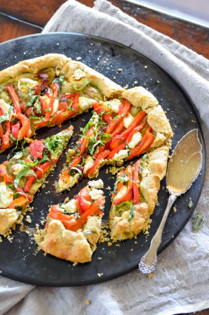 Roasted Red Pepper, Basil and Goat Cheese Galette 4