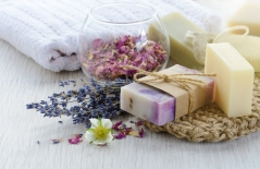 wrapped soap bars and ingredients